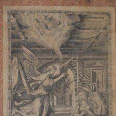Arte: ANTIGUO GRAN GRABADO DE LA ANUNCIACIÓN, S. XVII, ES HOJA DE UN LIBRO RELIGIOSO, TIENE TEXTO AL DORSO. Lote 94511538