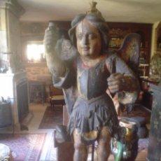 Arte: TALLA DE ARCÁNGEL ANGEL ANGELOTE O SAN MIGUEL O ANGEL TORCHERO SIGLO XVII POLICROMIA RETABLO. Lote 94526734