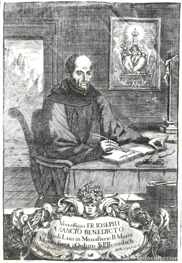 GRABADO ORIGINAL, AÑO 1755, MONTAÑA VIRGEN DE MONTSERRAT,SAN BENITO,HERMITA Y CRISTO DIBUJO ZORRILLA (Arte - Arte Religioso - Grabados)