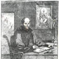 Arte: GRABADO ORIGINAL, AÑO 1755, MONTAÑA VIRGEN DE MONTSERRAT,SAN BENITO,HERMITA Y CRISTO DIBUJO ZORRILLA. Lote 94537967