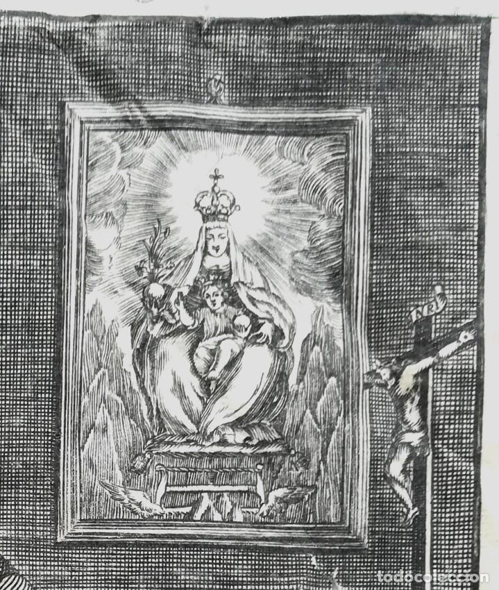 Arte: GRABADO ORIGINAL, AÑO 1755, MONTAÑA VIRGEN DE MONTSERRAT,SAN BENITO,HERMITA Y CRISTO DIBUJO ZORRILLA - Foto 3 - 94537967