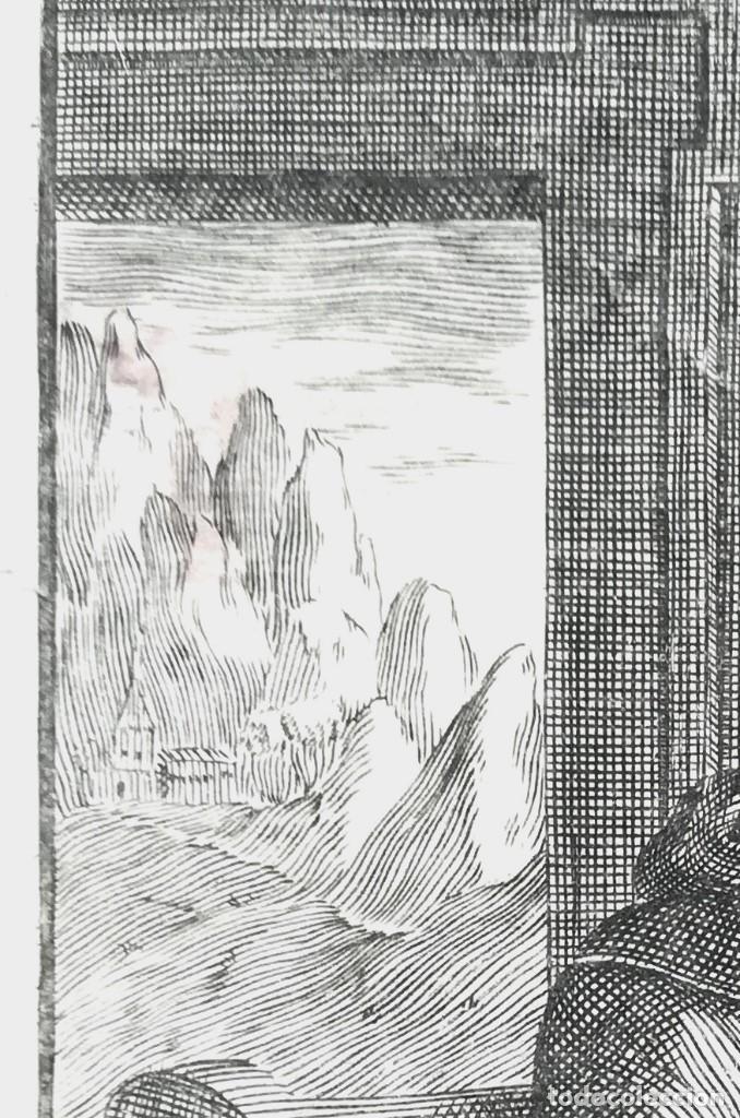 Arte: GRABADO ORIGINAL, AÑO 1755, MONTAÑA VIRGEN DE MONTSERRAT,SAN BENITO,HERMITA Y CRISTO DIBUJO ZORRILLA - Foto 4 - 94537967