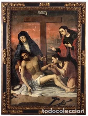 DESCENDIMIENTO. CRISTO. SIGLO XVIII. ESCUELA ESPAÑOLA. LIENZO 103X71. MARCO DE ÉPOCA. (Arte - Arte Religioso - Pintura Religiosa - Oleo)