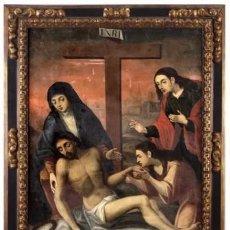 Arte: DESCENDIMIENTO. CRISTO. SIGLO XVIII. ESCUELA ESPAÑOLA. LIENZO 103X71. MARCO DE ÉPOCA.. Lote 94576335