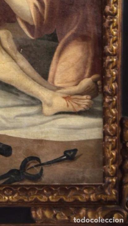 Arte: DESCENDIMIENTO. CRISTO. SIGLO XVIII. ESCUELA ESPAÑOLA. LIENZO 103X71. MARCO DE ÉPOCA. - Foto 7 - 94576335