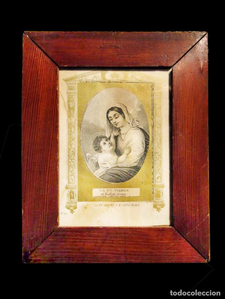 DELICADÍSIMO Y ANTIGUO CUADRO DE LA VIRGEN Y EL NIÑO. (Arte - Arte Religioso - Pintura Religiosa - Otros)