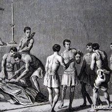 Arte: 1863 - GRABADO - MARTIRIO DE VALVERDE - 176X138MM. Lote 94724671