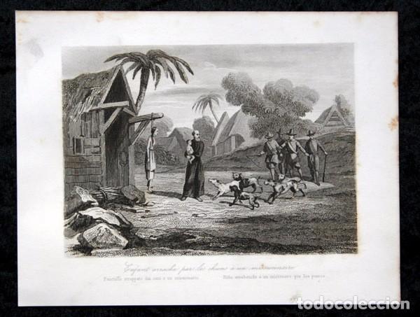 1863 - GRABADO - NIÑO ARREBATADO A UN MISIONERO POR LOS PERROS - 175X 135MM (Arte - Arte Religioso - Grabados)