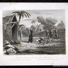 Arte: 1863 - GRABADO - NIÑO ARREBATADO A UN MISIONERO POR LOS PERROS - 175X 135MM. Lote 94724879