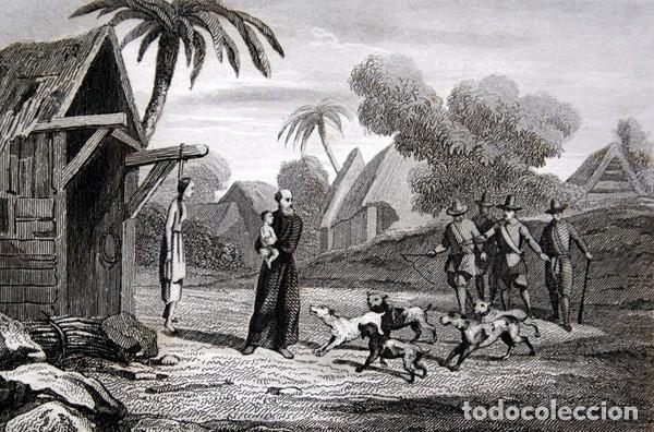 Arte: 1863 - GRABADO - NIÑO ARREBATADO A UN MISIONERO POR LOS PERROS - 175x 135mm - Foto 2 - 94724879