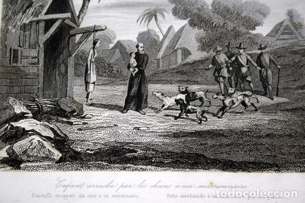 Arte: 1863 - GRABADO - NIÑO ARREBATADO A UN MISIONERO POR LOS PERROS - 175x 135mm - Foto 3 - 94724879