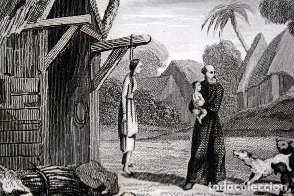 Arte: 1863 - GRABADO - NIÑO ARREBATADO A UN MISIONERO POR LOS PERROS - 175x 135mm - Foto 4 - 94724879