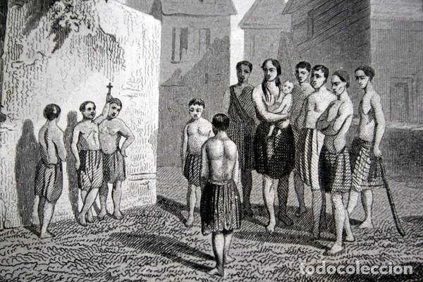 1863 - GRABADO - JOVENES CATEQUISTAS AMERICANOS - 175X136MM (Arte - Arte Religioso - Grabados)