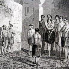 Arte: 1863 - GRABADO - JOVENES CATEQUISTAS AMERICANOS - 175X136MM. Lote 94725111