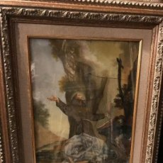 Arte: SAN FRANCISCO EN ORACION, VIDRIO PINTADO ITALIANO. Lote 94753071