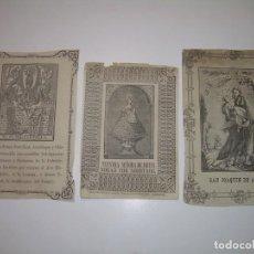Arte: TRES ANTIGUOS GRABADOS RELIGIOSOS SOBRE PAPEL....MEDIADOS SIGLO XIX.. Lote 94760023