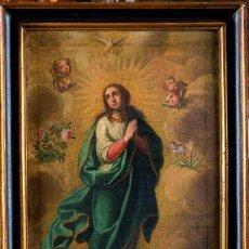 Arte: INMACULADA. SIGLO XVIII. ESCUELA ESPAÑOLA. LIENZO 82X50.. Lote 94835939
