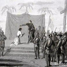 Arte: 1863 - GRABADO - BANTISMO DEL REY DE ZEBU - 178X130MM. Lote 94871959