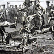 Arte: 1863 - GRABADO - FRANCISCANOS DEVORADOS POR LOS CARIBES - 179X137MM. Lote 94924311