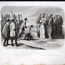 Arte: 1863 - GRABADO - CORTES A LOS PIES DE FRAY MARTIN DE VALENCIA - MEXICO 178X131MM. Lote 94926207