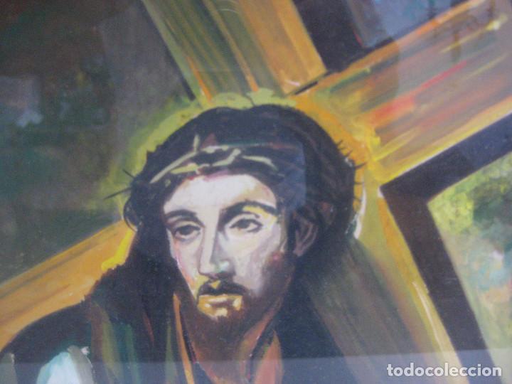 PRECIOSA PINTURA RELIGIOSA CRISTO CON CRUZ Y MARIA MAGDALENA CREO QUE MAS ACUARELA QUE OLEO FIRMADO (Arte - Arte Religioso - Pintura Religiosa - Oleo)