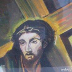 Arte: PRECIOSA PINTURA RELIGIOSA CRISTO CON CRUZ Y MARIA MAGDALENA CREO QUE MAS ACUARELA QUE OLEO FIRMADO . Lote 94976943