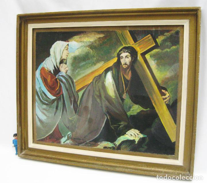 Arte: PRECIOSA PINTURA RELIGIOSA CRISTO CON CRUZ Y MARIA MAGDALENA CREO QUE MAS ACUARELA QUE OLEO FIRMADO - Foto 2 - 94976943
