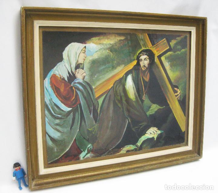 Arte: PRECIOSA PINTURA RELIGIOSA CRISTO CON CRUZ Y MARIA MAGDALENA CREO QUE MAS ACUARELA QUE OLEO FIRMADO - Foto 3 - 94976943