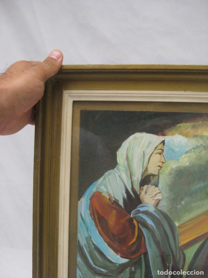 Arte: PRECIOSA PINTURA RELIGIOSA CRISTO CON CRUZ Y MARIA MAGDALENA CREO QUE MAS ACUARELA QUE OLEO FIRMADO - Foto 4 - 94976943