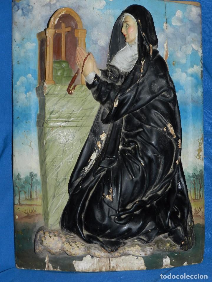 (M) TALLA DE MADERA RELIGIOSA S.XVIII - S.XIX EN MADERA , 52 X 37 CM, SWEÑALES DE USO (Arte - Arte Religioso - Escultura)