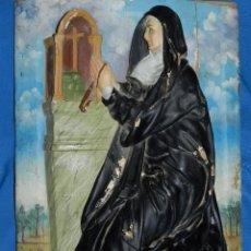 Arte: (M) TALLA DE MADERA RELIGIOSA S.XVIII - S.XIX EN MADERA , 52 X 37 CM, SWEÑALES DE USO. Lote 95069359