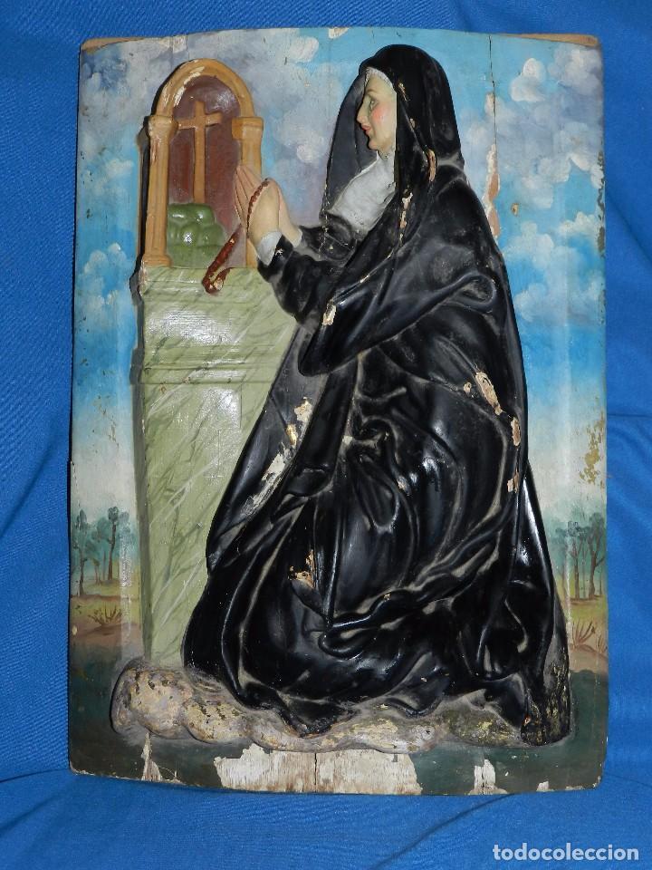Arte: (M) TALLA DE MADERA RELIGIOSA S.XVIII - S.XIX EN MADERA , 52 X 37 CM, SWEÑALES DE USO - Foto 2 - 95069359