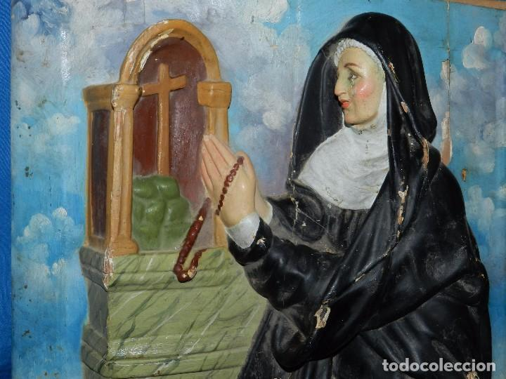 Arte: (M) TALLA DE MADERA RELIGIOSA S.XVIII - S.XIX EN MADERA , 52 X 37 CM, SWEÑALES DE USO - Foto 3 - 95069359