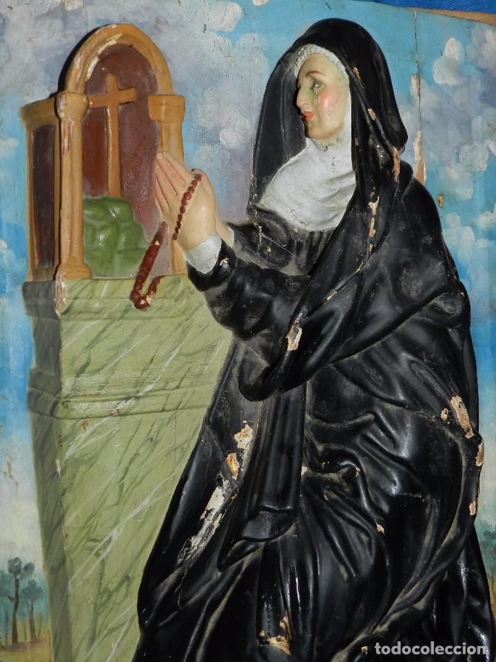 Arte: (M) TALLA DE MADERA RELIGIOSA S.XVIII - S.XIX EN MADERA , 52 X 37 CM, SWEÑALES DE USO - Foto 4 - 95069359