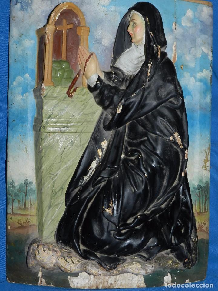 Arte: (M) TALLA DE MADERA RELIGIOSA S.XVIII - S.XIX EN MADERA , 52 X 37 CM, SWEÑALES DE USO - Foto 5 - 95069359