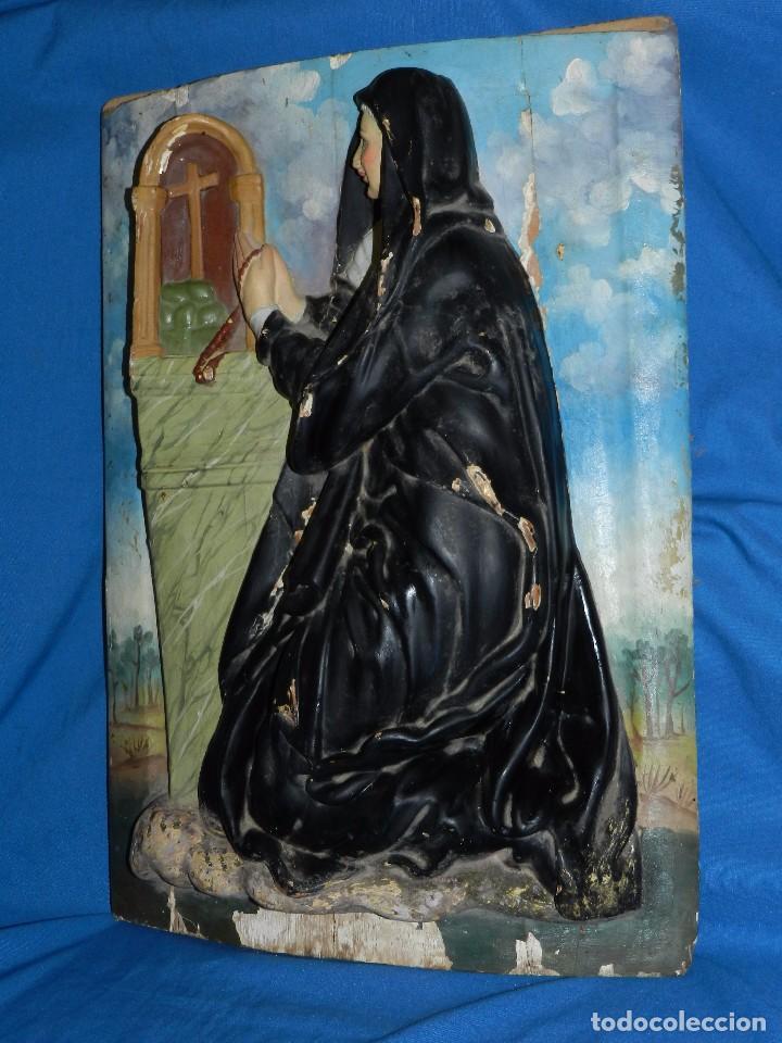 Arte: (M) TALLA DE MADERA RELIGIOSA S.XVIII - S.XIX EN MADERA , 52 X 37 CM, SWEÑALES DE USO - Foto 6 - 95069359
