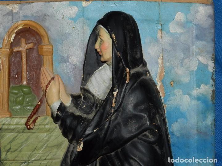 Arte: (M) TALLA DE MADERA RELIGIOSA S.XVIII - S.XIX EN MADERA , 52 X 37 CM, SWEÑALES DE USO - Foto 7 - 95069359