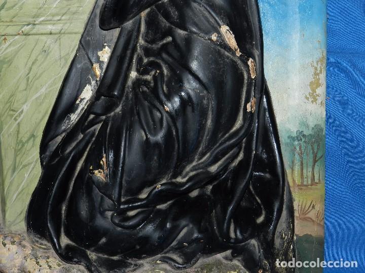 Arte: (M) TALLA DE MADERA RELIGIOSA S.XVIII - S.XIX EN MADERA , 52 X 37 CM, SWEÑALES DE USO - Foto 9 - 95069359