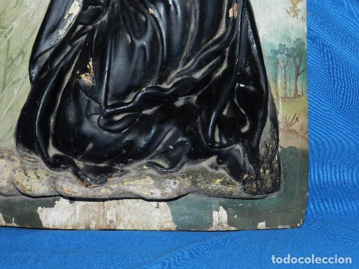 Arte: (M) TALLA DE MADERA RELIGIOSA S.XVIII - S.XIX EN MADERA , 52 X 37 CM, SWEÑALES DE USO - Foto 10 - 95069359