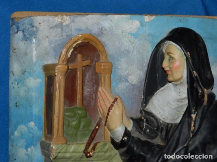 Arte: (M) TALLA DE MADERA RELIGIOSA S.XVIII - S.XIX EN MADERA , 52 X 37 CM, SWEÑALES DE USO - Foto 11 - 95069359