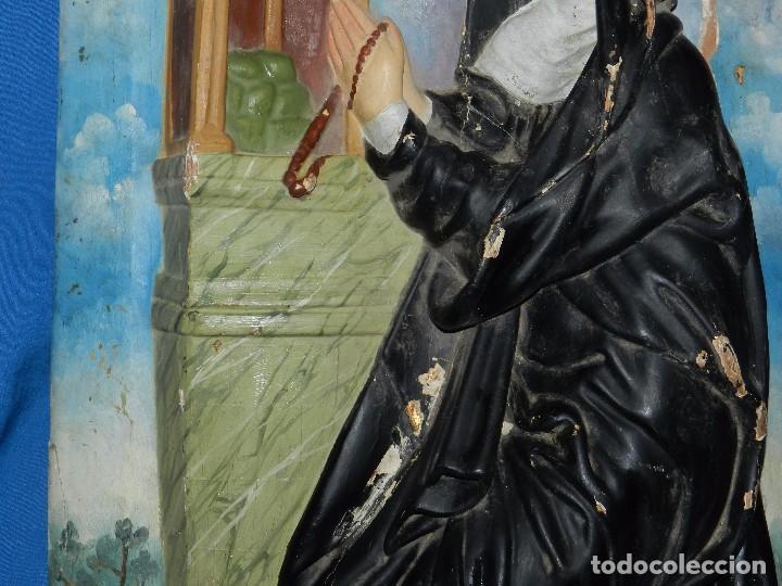 Arte: (M) TALLA DE MADERA RELIGIOSA S.XVIII - S.XIX EN MADERA , 52 X 37 CM, SWEÑALES DE USO - Foto 12 - 95069359