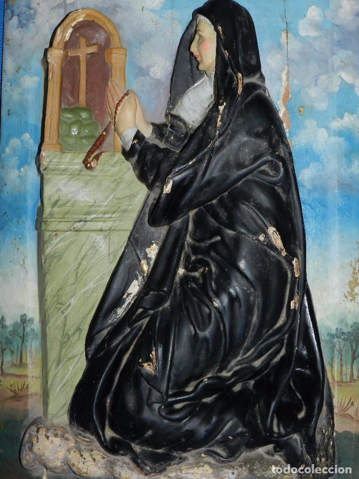 Arte: (M) TALLA DE MADERA RELIGIOSA S.XVIII - S.XIX EN MADERA , 52 X 37 CM, SWEÑALES DE USO - Foto 14 - 95069359
