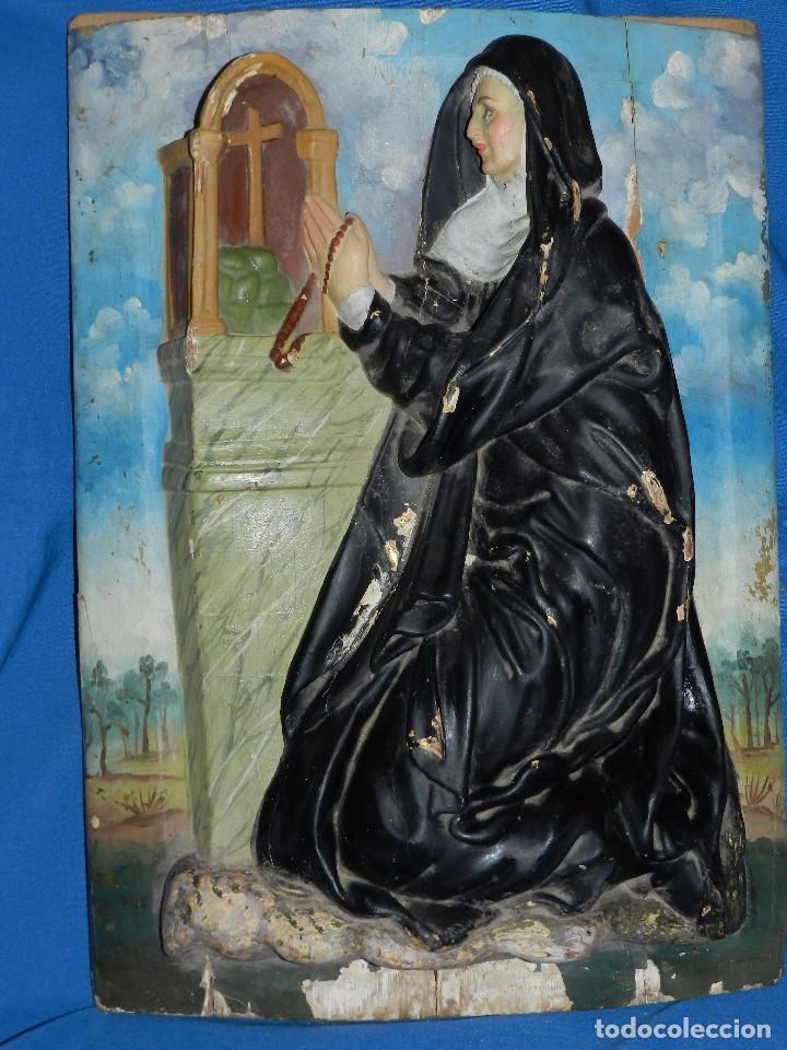Arte: (M) TALLA DE MADERA RELIGIOSA S.XVIII - S.XIX EN MADERA , 52 X 37 CM, SWEÑALES DE USO - Foto 15 - 95069359