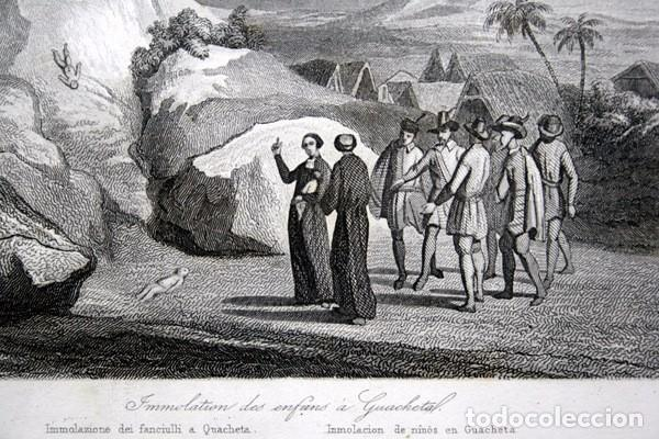 Arte: 1863 - GRABADO - IMMOLACION DE NINOS EN GUACHETA - COLOMBIA - 178x121mm - - Foto 3 - 95196579