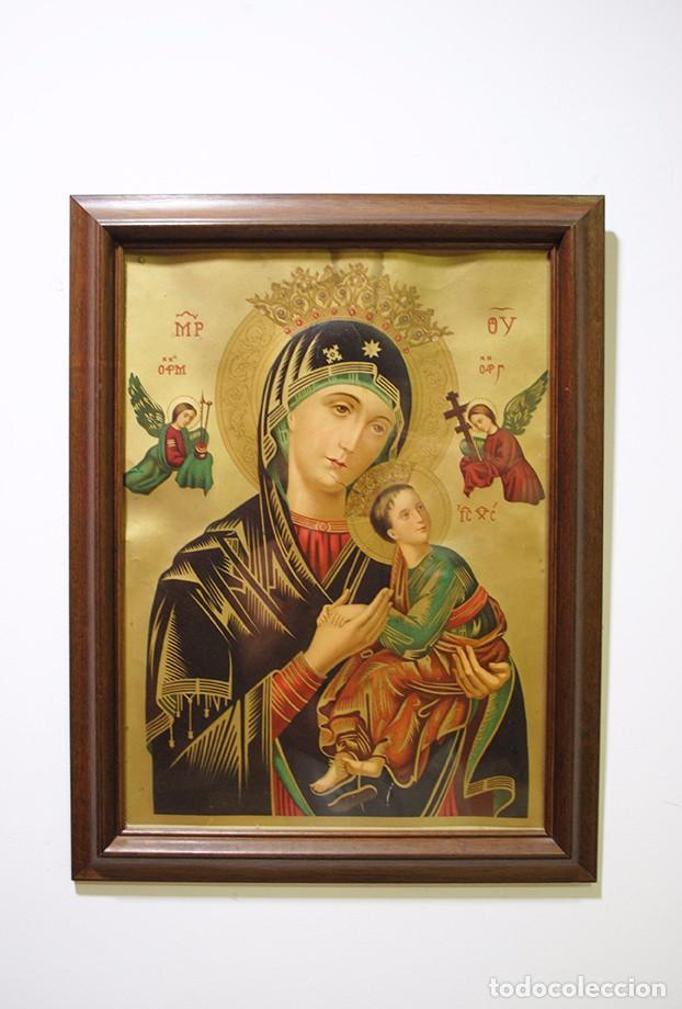 CUADRO RELIGIOSO ANTIGUO NUESTRA SEÑORA DEL PERPETUO SOCORRO (Arte - Arte Religioso - Pintura Religiosa - Otros)