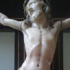Arte: CRUCIFIJO MADERA Y MARQUETERIA, Y CRISTO EN MARFIL 16 CM PIES A CABEZA. Lote 95368507
