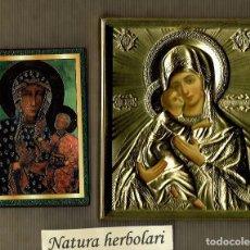 Arte: REPRODUCCIÓN 2 ICONOS RUSOS - VIRGEN CON EL NIÑO - ICONO. Lote 95400663