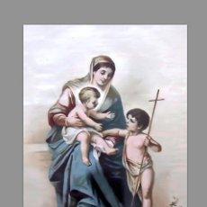 Arte: AZULEJO 20X30 DE LA VIRGEN MARIA Y EL NIÑO JESÚS CON SAN JUANITO. Lote 95619063