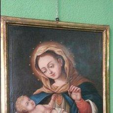 Arte: EXCEPCIONAL CUADRO DE VIRGEN CON NIÑO. MARCO ORIGINAL. S. XVIII. Lote 96037279