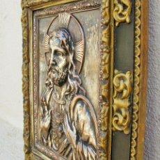Arte: RETABLO DE JESUCRISTO EN METAL Y EN RELIEVE- FIRMADO AYM. Lote 96075387